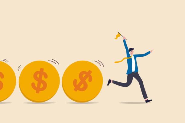 ilustraciones, imágenes clip art, dibujos animados e iconos de stock de flujo de caja, flujo de fondos de inversión, recaudación de fondos, préstamo bancario o actividad financiera para hacer dinero o concepto de ganancias, líder businessista o inversor que sostiene el flujo de control de bandera de monedas de dólar de di - gerente de cuentas