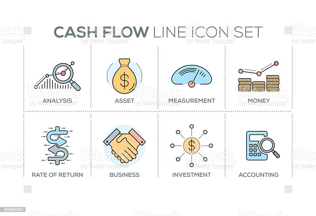 Cash Flow keywords with line icons vector art illustration
