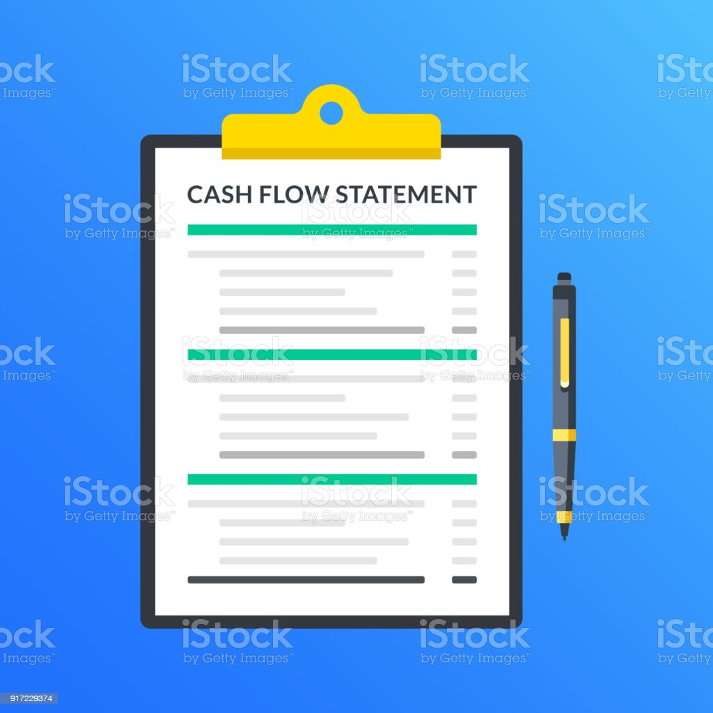 Cash flow statement. Clipboard with financial statement, financial report and pen. Modern flat design graphic elements. Vector illustration vector art illustration