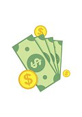 Cash, Green Dollars, Coin Icon isolated on white background. Money
