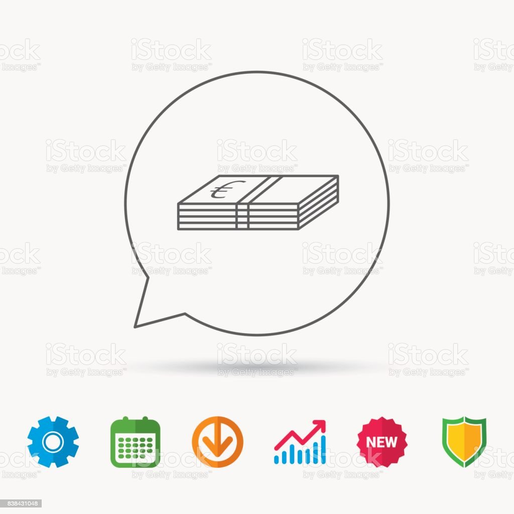 Cash icon. Euro money sign. EUR currency symbol. Calendar, Graph...