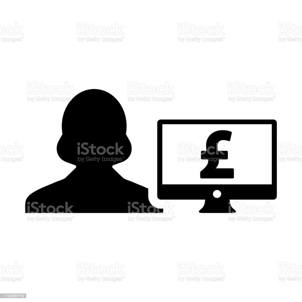Cash icon vector female user person profile avatar with computer...