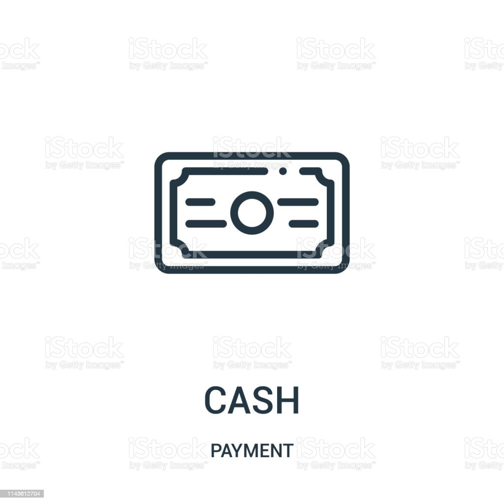 cash icon vector from payment collection. Thin line cash outline icon...