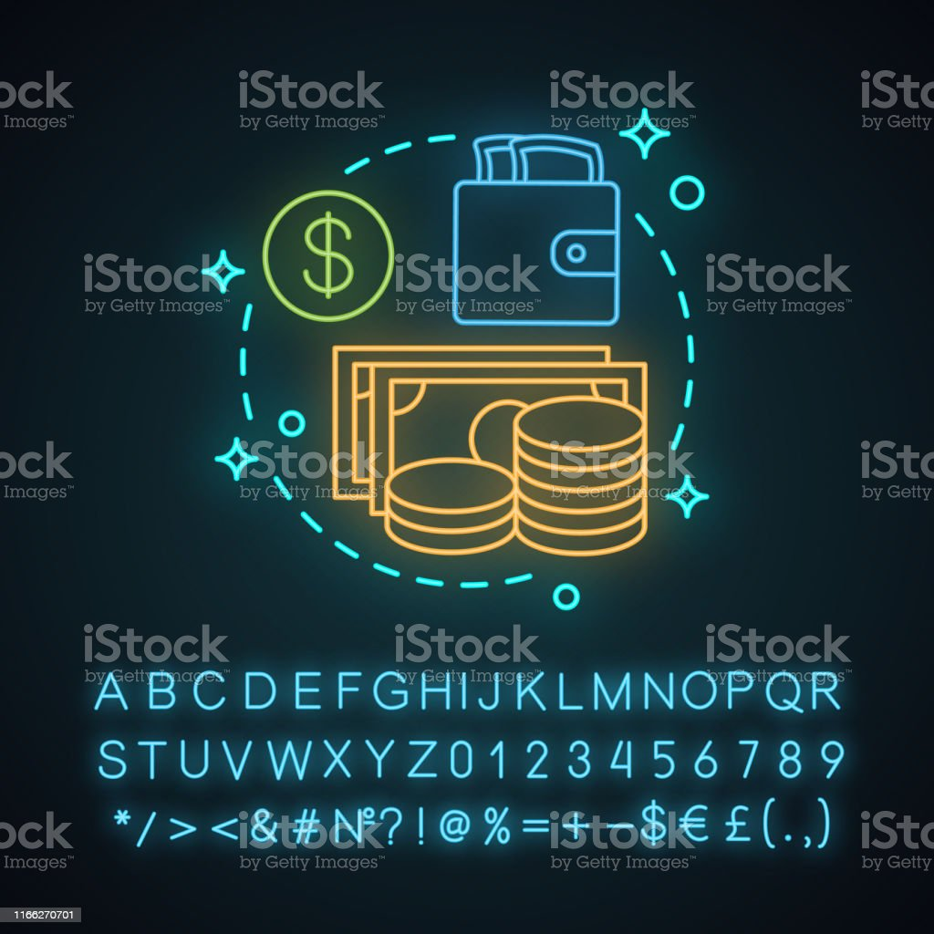 Cash neon light concept icon with glowing alphabet, numbers and...