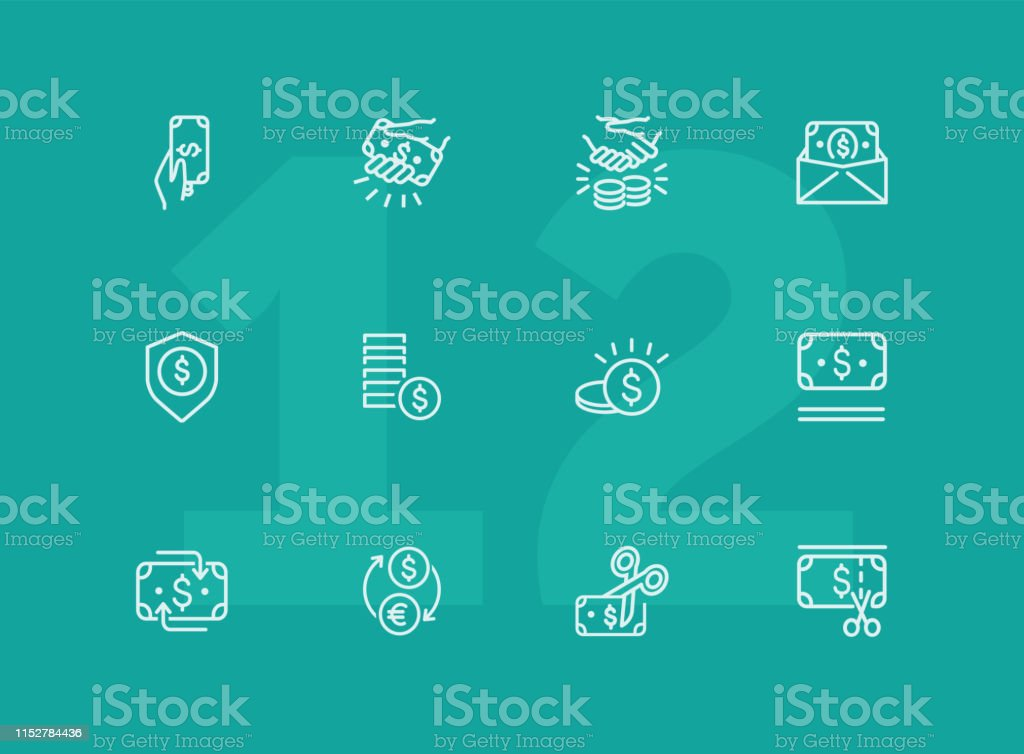 Cash line icon set. Deal, paying, currency exchange. Money concept....