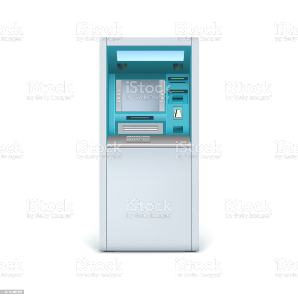 Cash machine closeup vector art illustration
