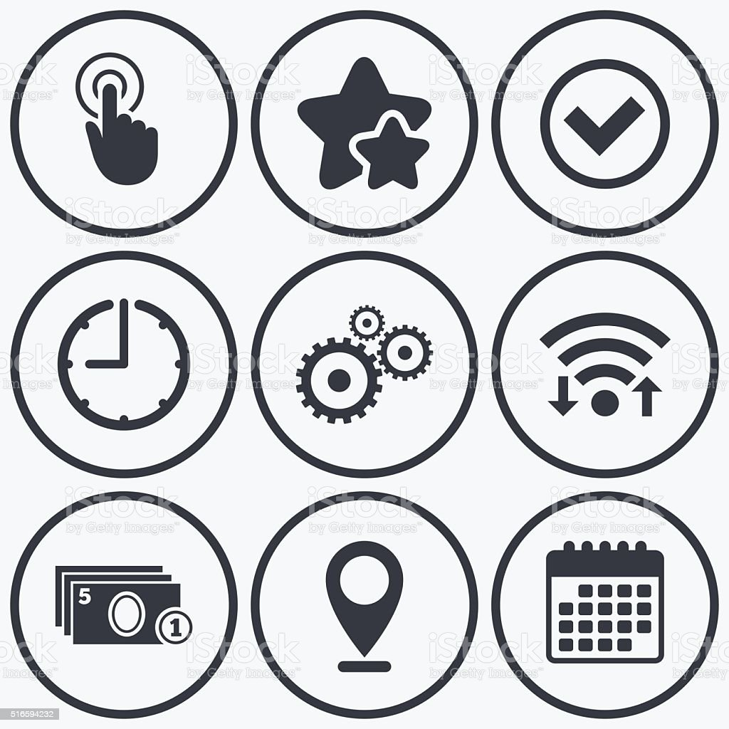 Clock, wifi and stars icons. ATM cash machine withdrawal icons. Click...