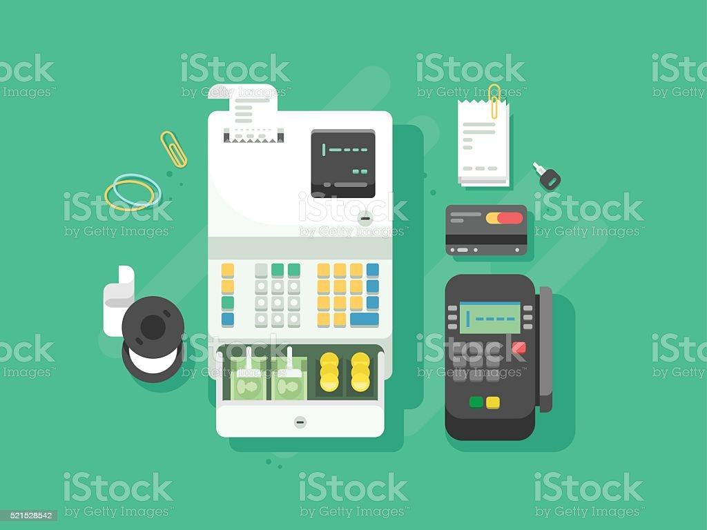 Cash Machne And Digital Terminal For Cards Stock Vector Art