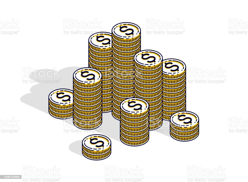 Cash money coin cent stacks isolated on white background. Vector 3d...