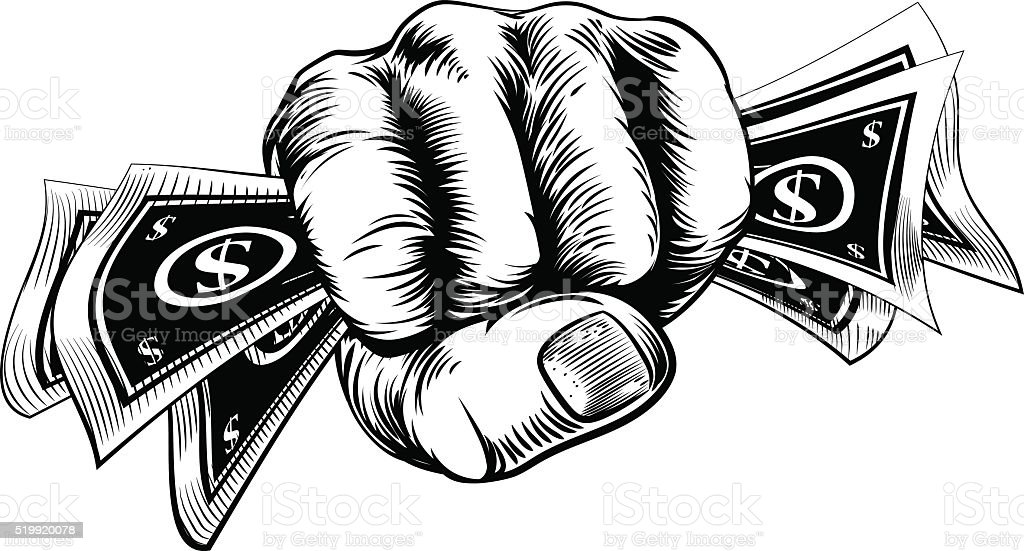 Cash Money Fist Hand vector art illustration