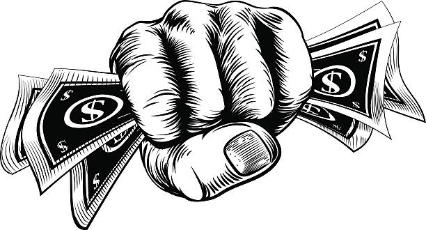 Cash Money Fist Hand Hand in a fist holding cash money dollar bills in a vintage woodcut style minimum wage stock illustrations