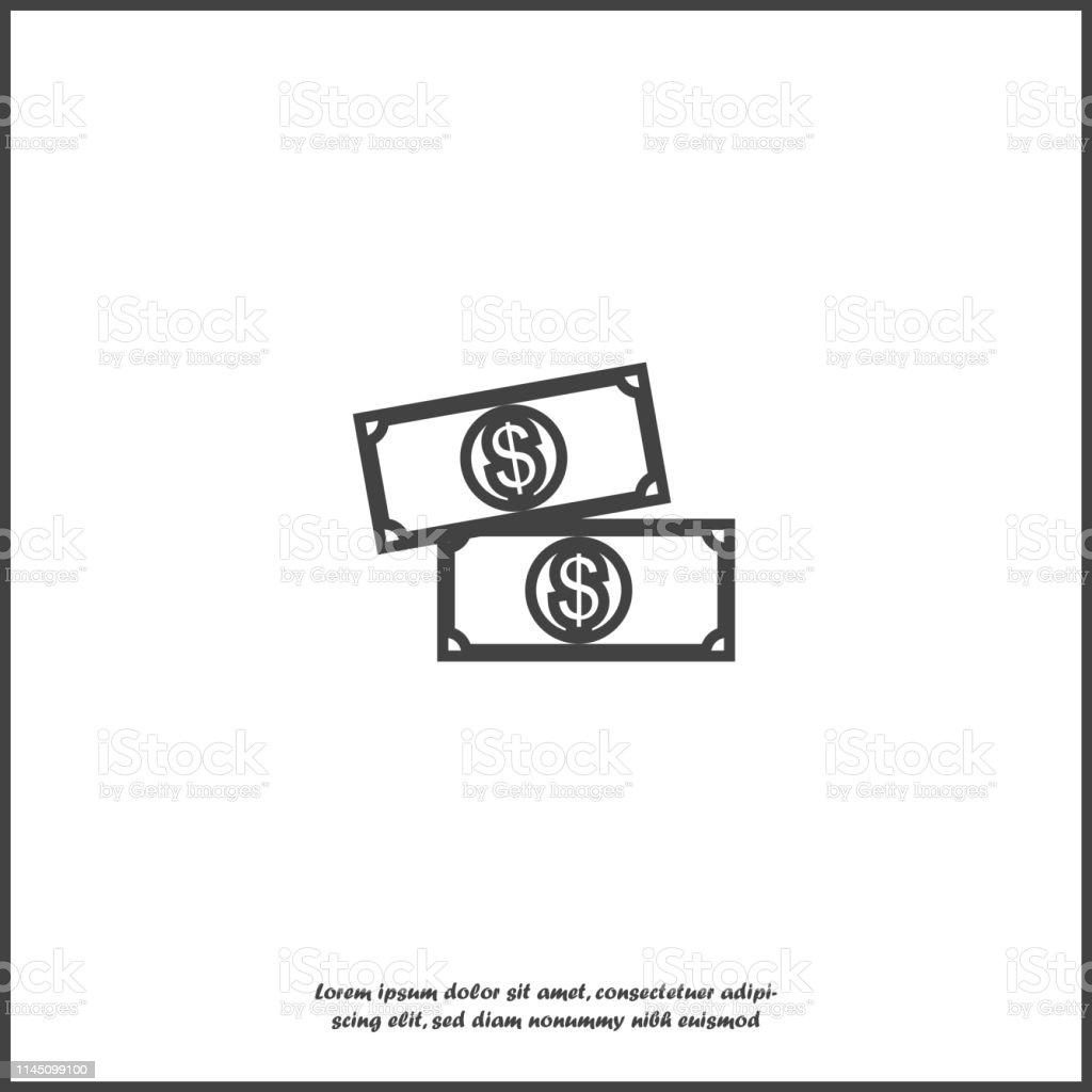 Cash money icon. Flat image money on white isolated background....