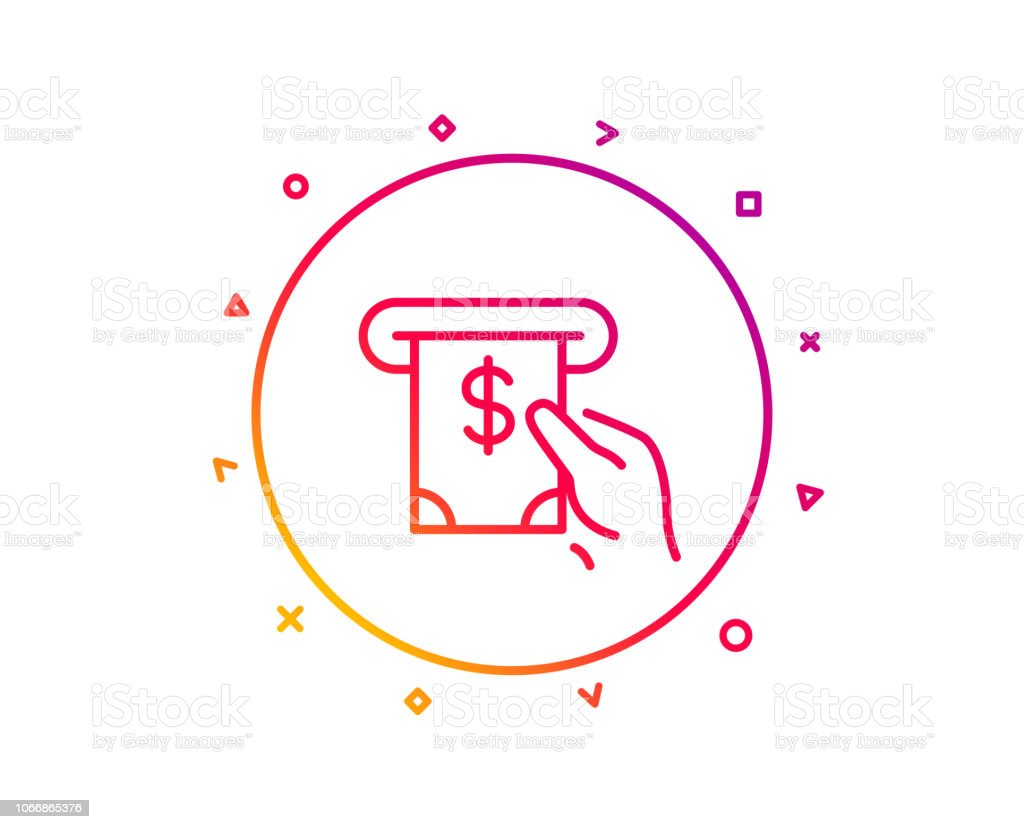 Cash money line icon. Banking currency sign. Dollar or USD symbol....