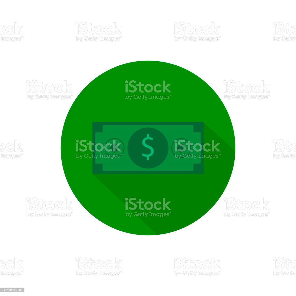 Cash money ticket round icon long shadow vector vector art illustration