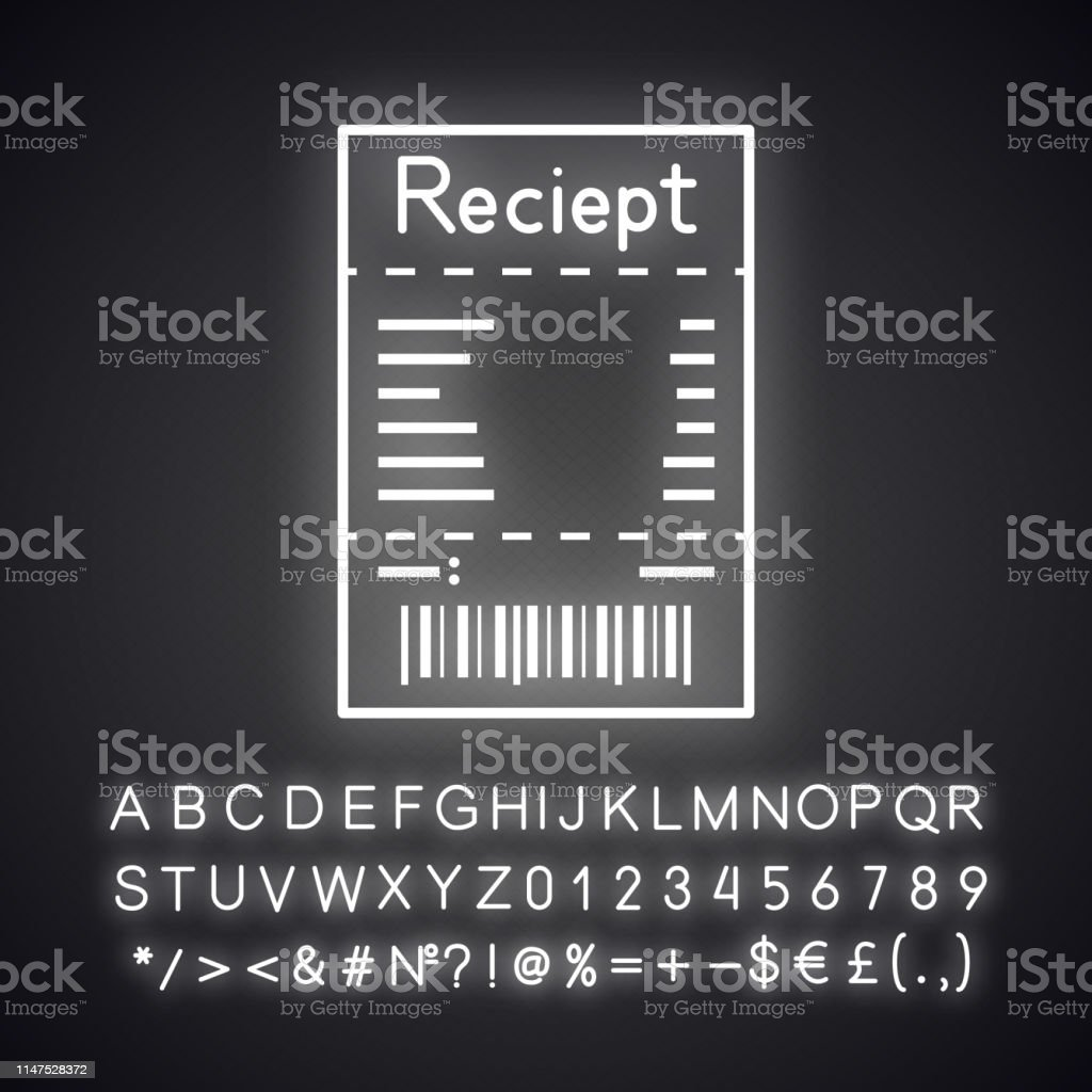 Cash receipt neon light icon with glowing alphabet, numbers and...