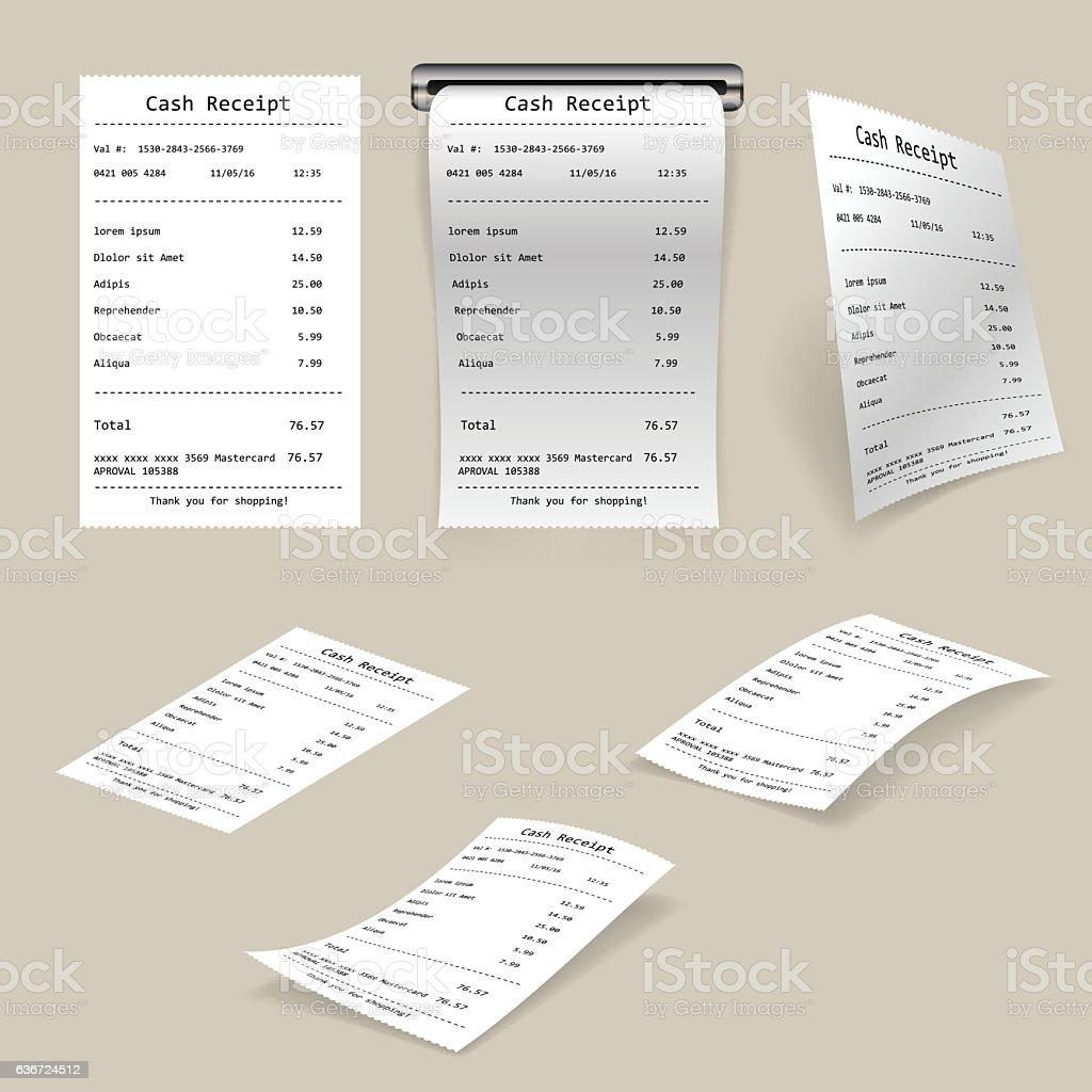 Cash receipt vector art illustration
