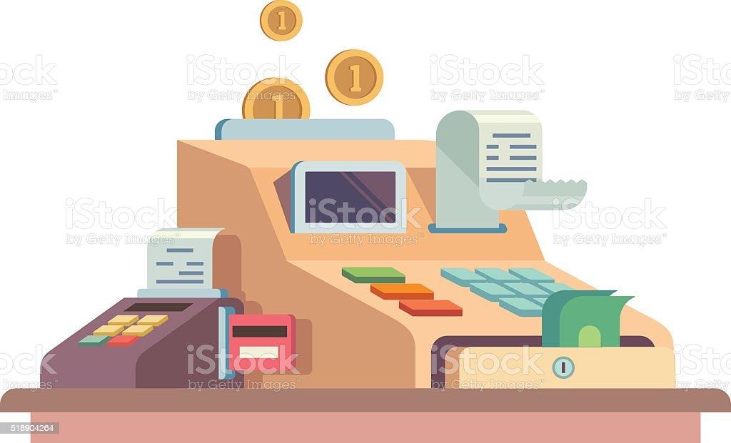 Cash register apparatus vector art illustration