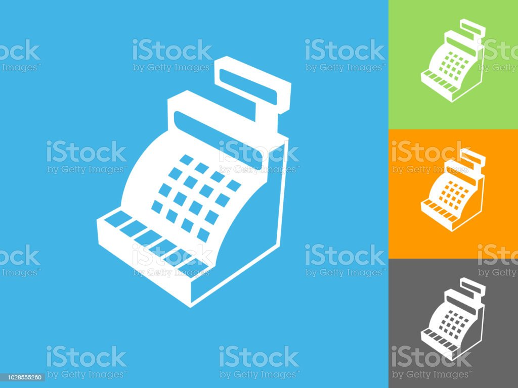 Cash Register Flat Icon on Blue Background. The icon is depicted on...