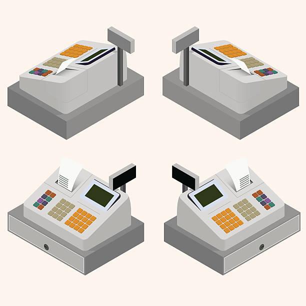 cash register. flat isometric. the circulation of money. - kasa fiskalna stock illustrations
