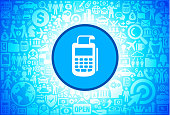 Cash Register Icon on Business and Finance Vector Background. The blue button with the white icon on it is in the center of the illustration. The button is surrounded with business and finance icon pattern. The icons vary in size and shades of blue color. There is a white glow around the round button which helps it stand out from the background. The icons include such popular business and finance symbols as business people, business meetings and travel, profits and financial charts and many more. You can also use each icon separately from the main background.
