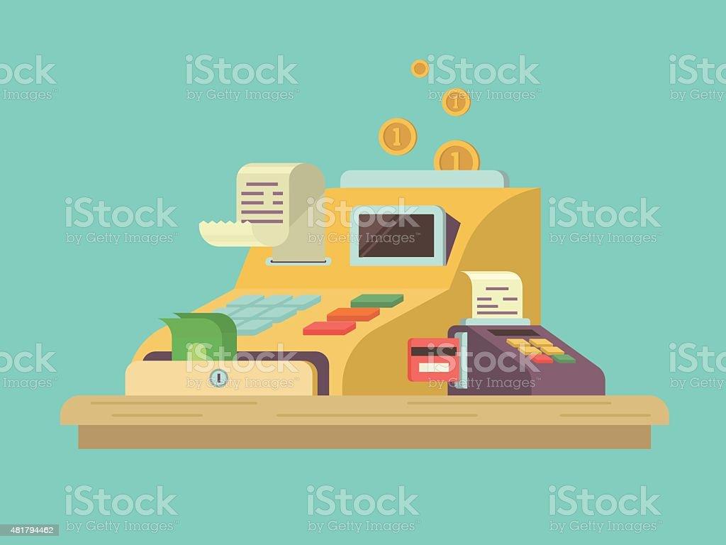 Cash register in flat style vector art illustration