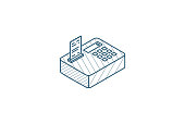 istock cash register isometric icon. 3d line art technical drawing. Editable stroke vector 1250442645