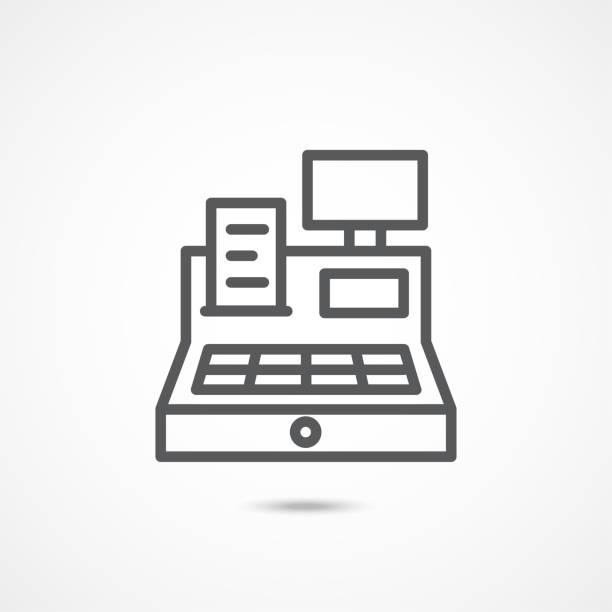 Cash register line icon Cash register line icon isolated on white register stock illustrations