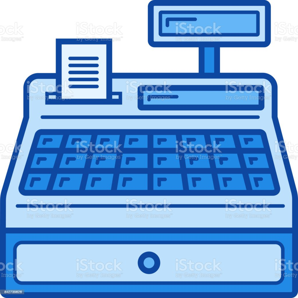 Cash Register Line Icon - Immagini vettoriali stock e altre