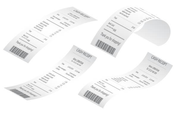 kassenverkaufsbelege auf thermowalzpapier gedruckt realistische proben - kassenbon stock-grafiken, -clipart, -cartoons und -symbole