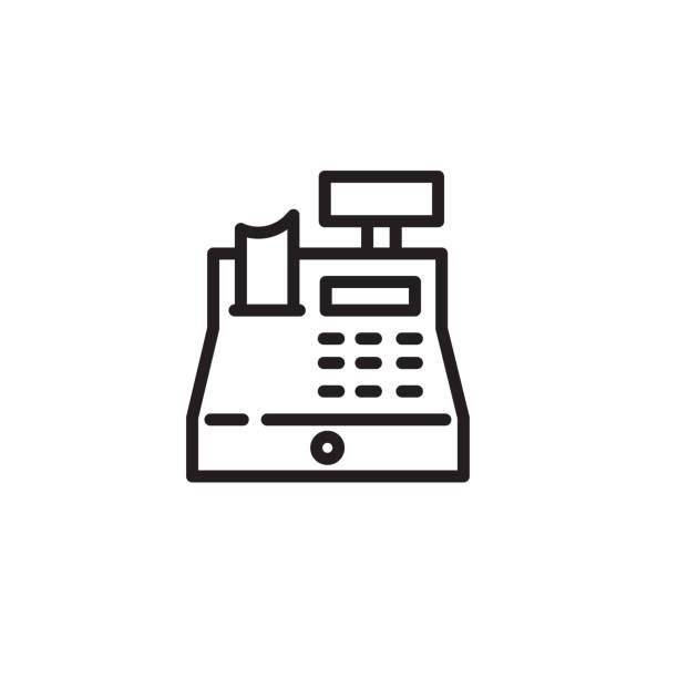 cash-register-dünnliniensymbol - kassenbon grafiken stock-grafiken, -clipart, -cartoons und -symbole