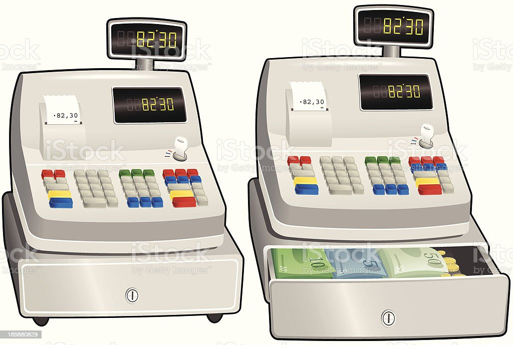 Cash register till with closed and open drawers royalty-free stock vector art