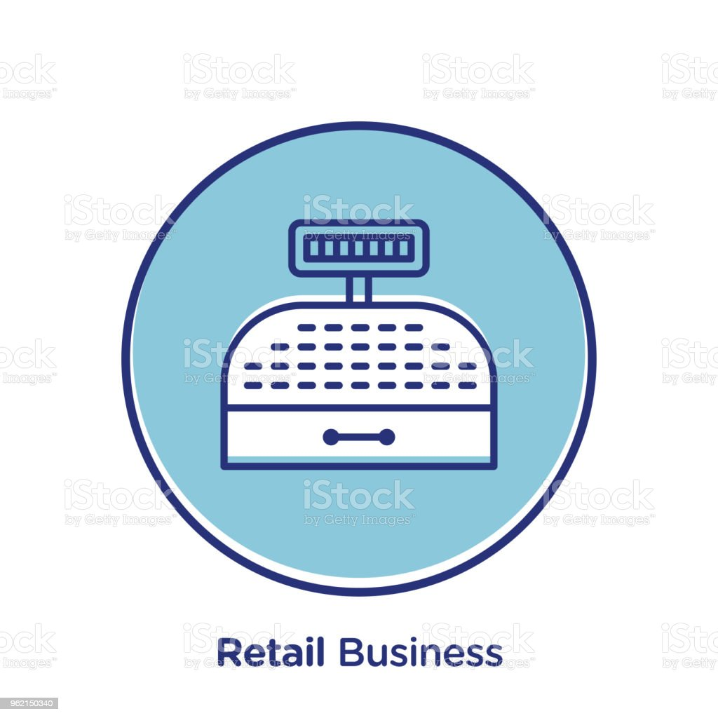 Retail related offset style vector illustration.