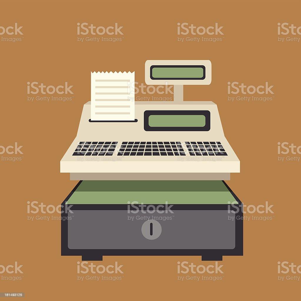 Cash register vector on brown background vector art illustration