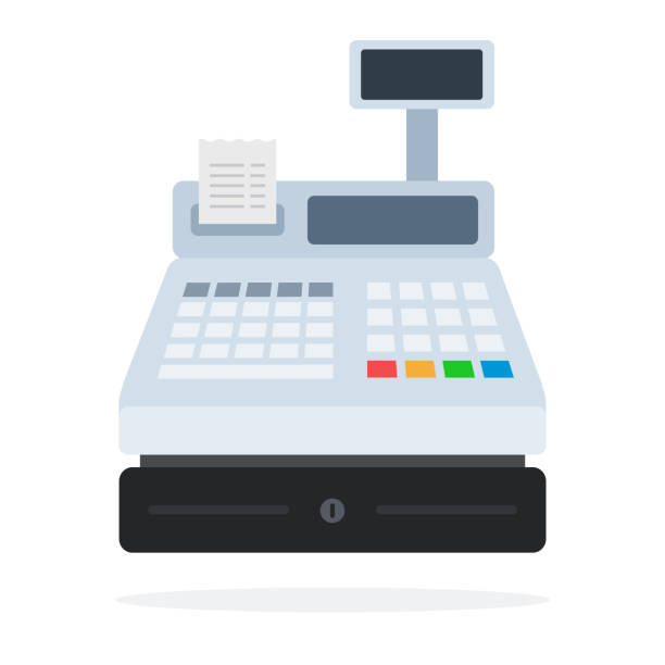 Cash register with a paper check flat isolated vector art illustration
