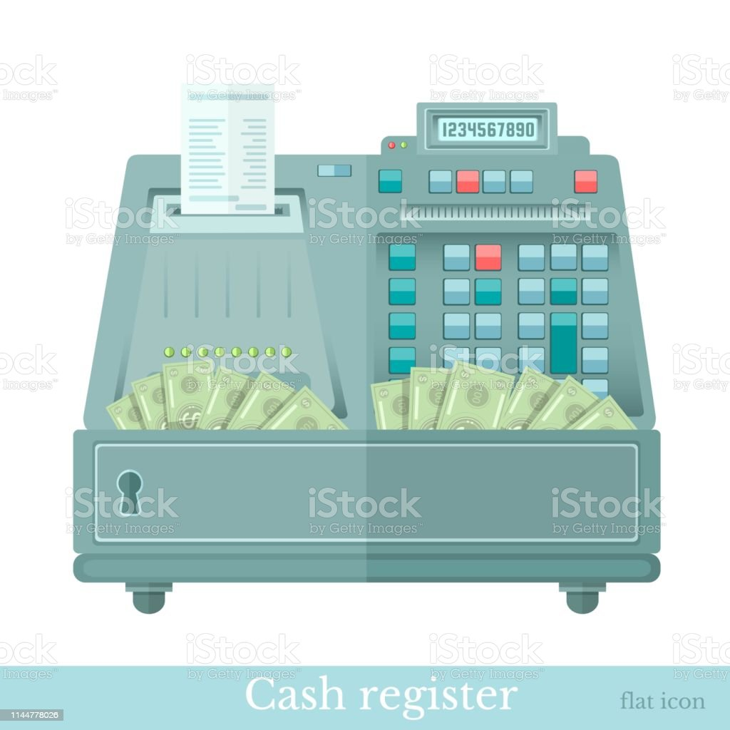 cash register with bank note from it