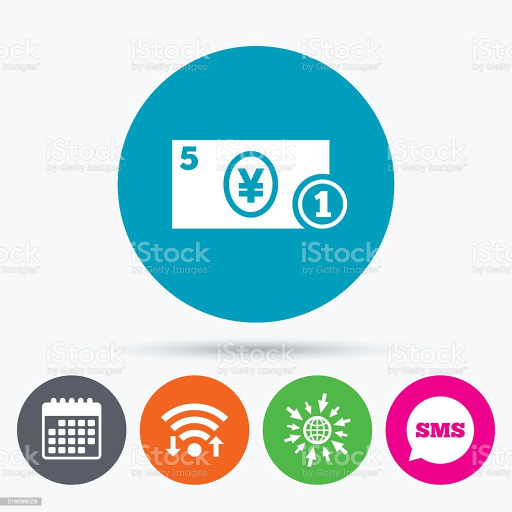 Wifi, Sms and calendar icons. Cash sign icon. Yen Money symbol. JPY...