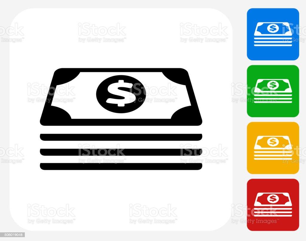 Icône plate argent pile de conception graphique - Illustration vectorielle