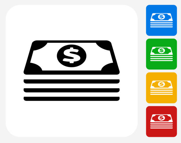 Cash Stack Icon Flat Graphic Design vector art illustration