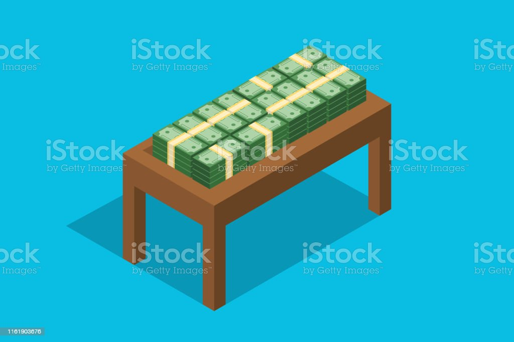 cash stack money on top of wooden table flat style vector illustration
