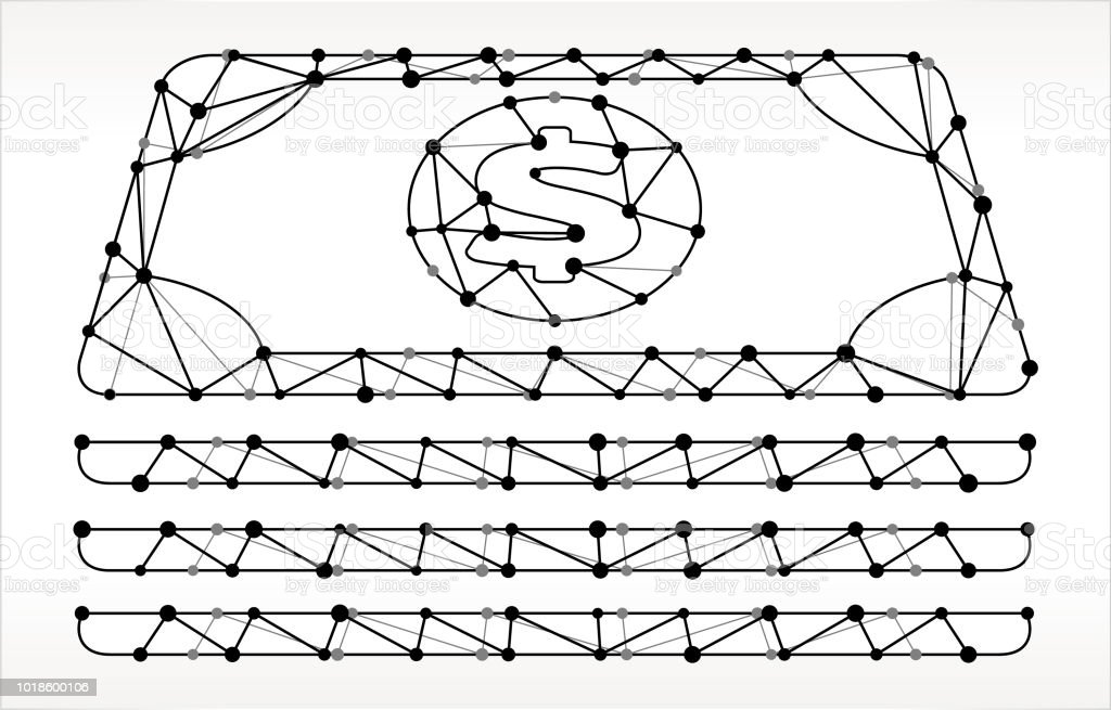 Cash Stack Triangle Node Black and White Pattern. The main object...