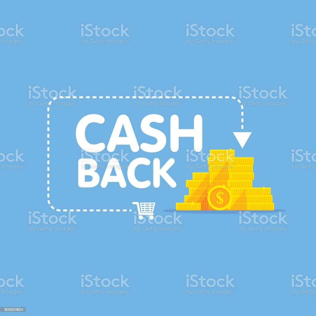 Cashback concept logo vector illustration coins and arrow vector art illustration