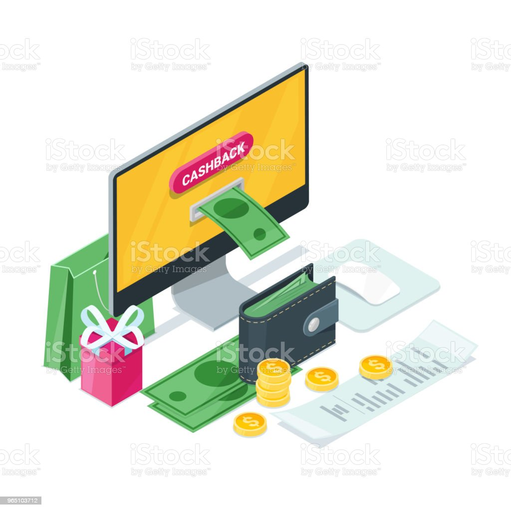 Cashback concept. Vector isometric 3d illustration. Money icons for cash back or transfer payments online service royalty-free cashback concept vector isometric 3d illustration money icons for cash back or transfer payments online service stock vector art & more images of atm