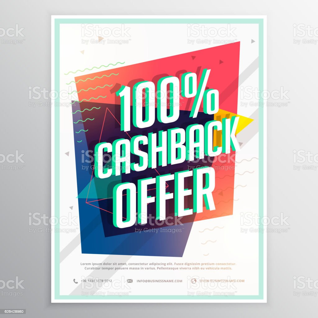 cashback discount brochure flyer template with colorful geometri vector art illustration