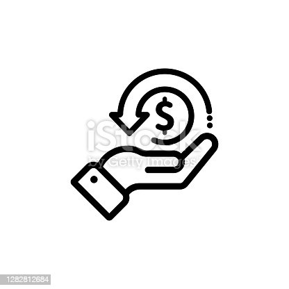 istock Cashback icon, return money, cash back rebate. Hand hold coin. E commerce and marketing. Vector on isolated white background. EPS 10 1282812684