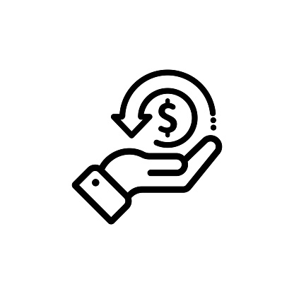 Cashback icon, return money, cash back rebate. Hand hold coin. E commerce and marketing. Vector on isolated white background. EPS 10.