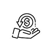 istock Cashback, return money, cash back rebate line icon. Salary exchange, hand holding dollar. Financial investment symbol. Vector on isolated white background. EPS 10 1270225962