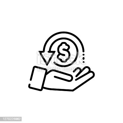 istock Cashback, return money, cash back rebate line icon. Salary exchange, hand holding dollar. Financial investment symbol. Vector on isolated white background. EPS 10 1270225962