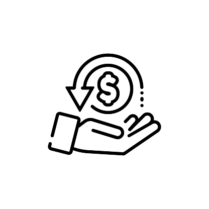 Cashback, return money, cash back rebate line icon. Salary exchange, hand holding dollar. Financial investment symbol. Vector on isolated white background. EPS 10.