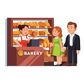 Cashier girl at bakery checkout counter serving buying customers couple. Woman selling bread to clients. Local small retail business owner. Flat style vector illustration isolated on white background.
