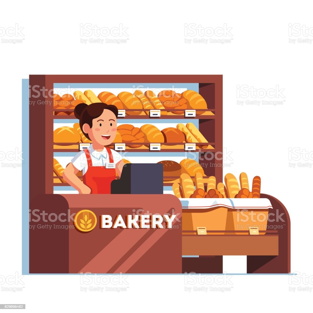 Cashier at bread bakery store at checkout counter vector art illustration